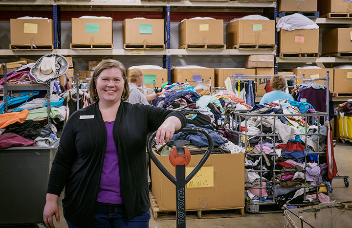 Anna working in the back of the Thrift Store
