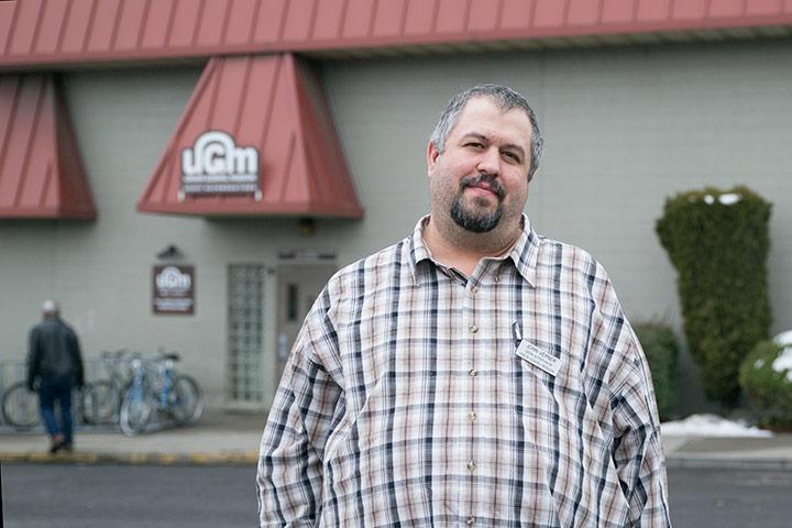 John, in front of Men's Shelter