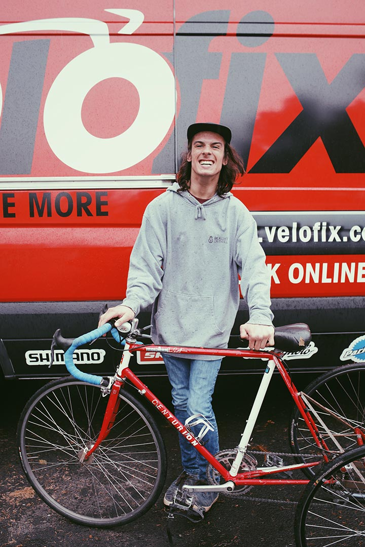 Mike with his bike by the Velofix van