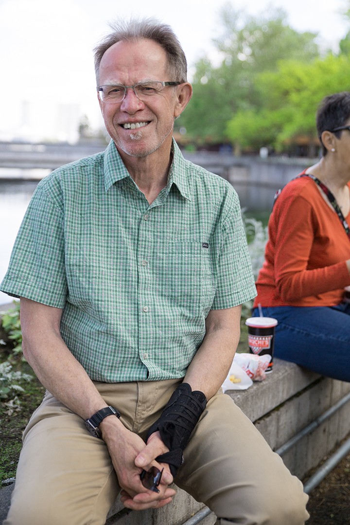 Michael sitting in Riverfront Park