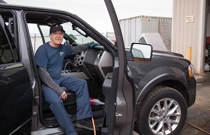 Brian detailing an SUV